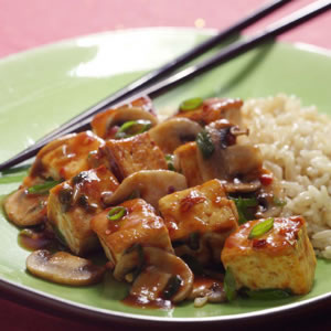 Tofu frit aux champignons